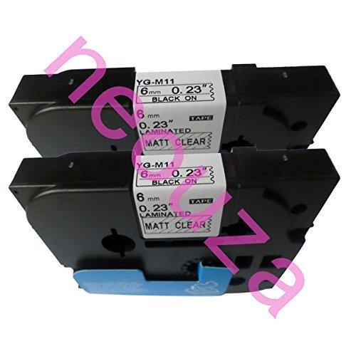 Neouza 2PK compatibile per Brother P-Touch Laminated TZe TZ Label tape Cartridge 6mm x 8m TZe-M11 Black on Matte Clear