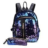 YULAND Handtasche Schultertasche Brusttasche, Mode Mädchen Pailletten Schultasche Rucksack Reise Umhängetasche Clutch Wallet (Blau)