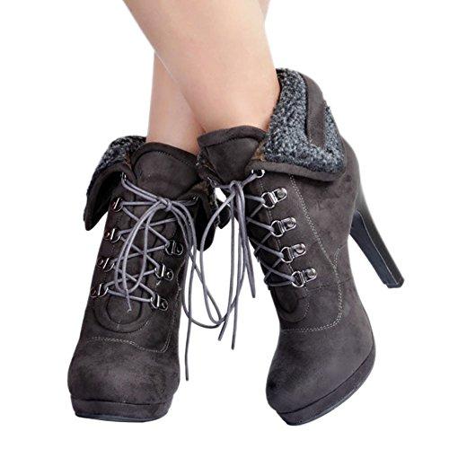 MERUMOTE Damen x-162 Plateau Ankle Boots Kunstfell Lacing Trichterabsatz Stiefeletten Round Toe Boot EU Size 34-47 Grau