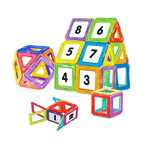 NextX Pädagogische Bausteine Sets, Magnetische Bauklötze Magnetspielzeug Weihnachtsgeschenk für Jungen und Mädchen ab 3 Jahren (24-Stück) Haus Spielzeug Für Jungen