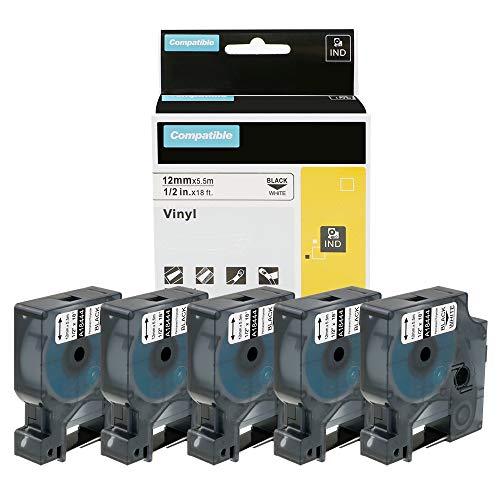5x Kompatibel Dymo 18444 Rhino Industriell Vinyl-Etiketten 12 mm x 5.5 m Schwarz auf Weiß für Rhino 1000 3000 4200 5000 5200 6000