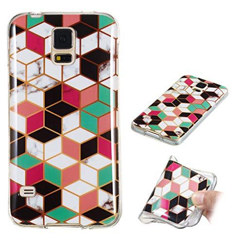 Yunbaozi Marmor Hülle für Samsung Galaxy S5 Schlank Weich Gummi Case Stoßstange Löschen Matte Drucken Natürliche Textur Anti-Scratch Shock Geometrische Muster, Buntes Gitter Stereoskopisch