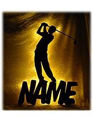 Schlummerlicht24 Led Holz Nacht-Licht Sport Golf-er mit Name-n nach Wunsch, ausgefallene Geschenk-e für Golfer, als Deko-Lampe für das Wohnzimmer Schlafzimmer Flur