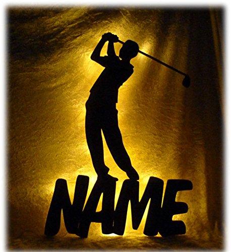 Golf-zubehör-geschenke (Schlummerlicht24 Led Holz Nacht-Licht Sport Golf-er mit Name-n nach Wunsch, ausgefallene Geschenk-e für Golfer, als Deko-Lampe für das Wohnzimmer Schlafzimmer Flur)