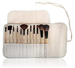 SHANY Professional 12 Piece Vegan Cosmetics Bamboo Brush Set with Vegan Microfiber Rolling Pouch, Vegan Gal by SHANY Cosmetics