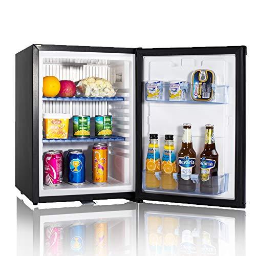 Smad Mini-Kühlschrank 12V und 220V Minibar Absorption Kühlschrank für Camping Wohnmobil RV Auto Büro Hotel Klein Kühlschrank mit Schloss Lautlos Leise Schwarz 40L -
