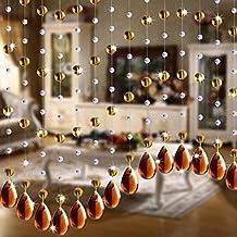 Rawdah Cortina De Cristal De Cristal De Lujo Sala De Estar Dormitorio Ventana Decoración De La Puerta De La Boda (Marrón)