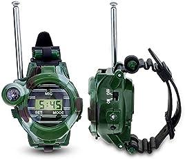 Ocamo 1 Pair 7 in 1 Walkie Talkie Wrist Watch Digital Parent-Child Outdoor Interphone Toy for Kids