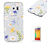 For Samsung Galaxy S6 Case [with Free Screen Protector], Funyye Lightweight Ultra Slim Anti Scratch Transparent Soft Gel Silicone TPU Bumper Protective Case Cover Shell for Samsung Galaxy S6 - Daisy