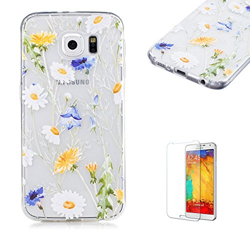 Price comparison product image For Samsung Galaxy S6 Case [with Free Screen Protector],  Funyye Lightweight Ultra Slim Anti Scratch Transparent Soft Gel Silicone TPU Bumper Protective Case Cover Shell for Samsung Galaxy S6 - Daisy