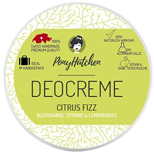 PonyHütchen Unisex-Deocreme ohne Aluminiumsalze für Damen und Herren + 50 ml Naturkosmetik Deo Creme + BIO + VEGAN + SWISS HANDMADE + ideal im Handgepäck - 0% Aluminiumsalze (Citrus Fizz)