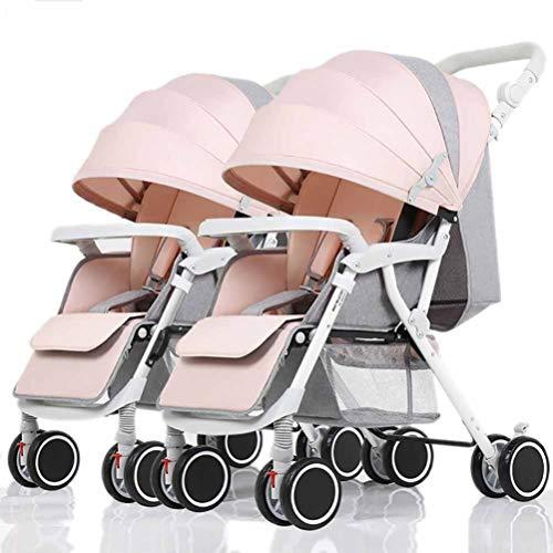Carrello neonato pieghevole leggero pieghevole, passeggino gemellare staccabile adatto a tutte le stagioni (color : pink)