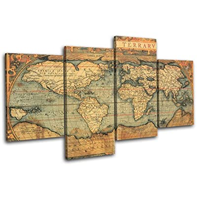 Bold Bloc Design Old World Atlas Maps 120x68cm 4 Panel Offset Cascade Large XL Canvas Art Print Box Framed Picture Wall Hanging - Hand Made In The Uk - Framed And Ready To Hang - low-cost UK canvas shop.