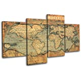 Bold Bloc Design Old World Atlas Maps 120x68cm 4 Panel Offset Cascade Large XL Canvas Art Print Box Framed Picture Wall Hanging - Hand Made In The Uk - Framed And Ready To Hang
