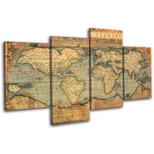 Old world maps on canvas amazon bold bloc design old world atlas maps 120x68cm 4 panel offset cascade large xl canvas art print box framed picture wall hanging hand made in the uk gumiabroncs Gallery