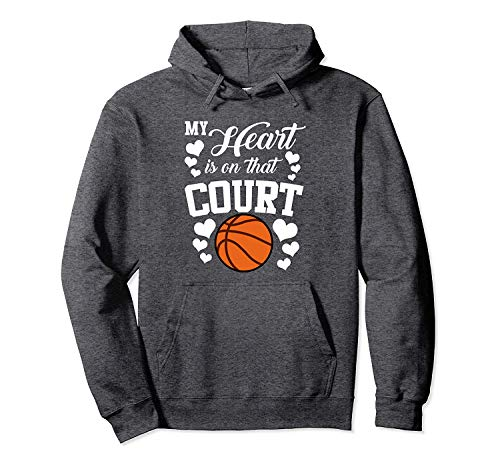 Balinh2 Cool Hoodie My Heart is On That Court Basketball Mom Dad Husband