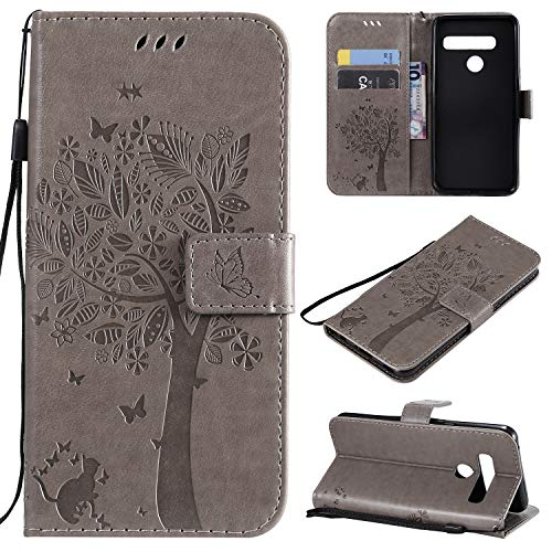 CMID LG G8 ThinQ Hülle, PU Leder Brieftasche Handytasche Flip Bookcase Schutzhülle Cover [Ständer][Handschlaufe] für LG G8 ThinQ (Grau)