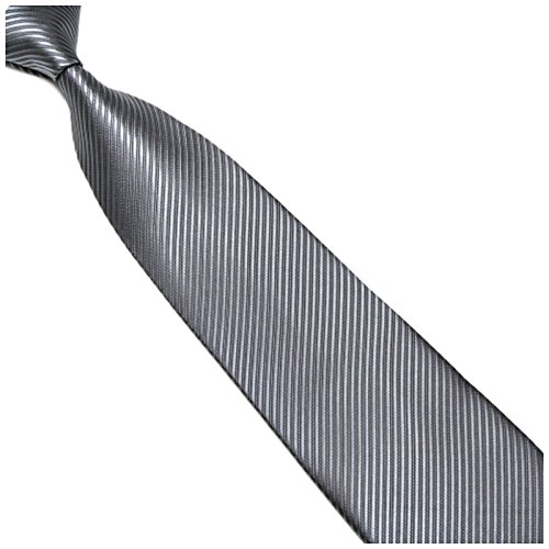 GASSANI Graue Krawatte Streifen gestreift | Binder Dunkel-Grau Manschettenknöpfe Einstecktuch | Krawattenset zum Anzug Seide-Optik - Streifen Krawatte