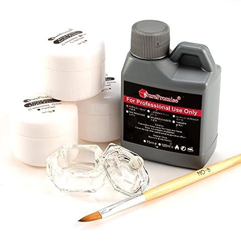Kit base 4en1 pr ongles acrylique poudre resine liquide pinceau godet