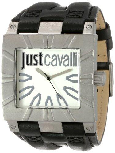 Just Cavalli - R7251585502 - Timesquare - Montre Homme - Quartz Analogique - Cadran Blanc - Bracelet Cuir Noir