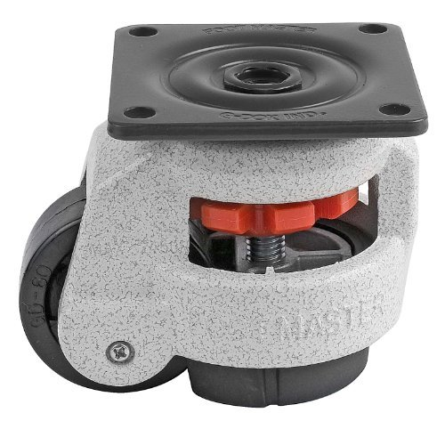 FOOTMASTER GD-60F Nylon Wheel and NBR Pad Leveling Caster, 550 lbs, Top Plate 2 7/8 x 2 7/8, Bolt Holes 2 9/32 x 2 9/32, Ivory Finish by FOOTMASTER (Top Plate Bolt)