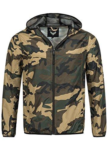 Brave Soul Herren Jacke, Windbreaker Hoodie mit Zipper, futterlos, khaki camouflage