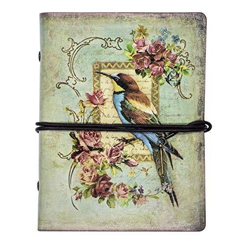 FX Vintage cuero de la secuencia Retro Cuaderno Diario Notebook PU Cubierta Hojas Sueltas Libreta y De Viaje Cuaderno (Color-4)