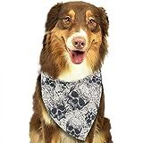 Hipiyoled Pet Bandanas Skulls in Grunge Style Adjustbable Collars Pet Bandana Bibs for Puppy Cats