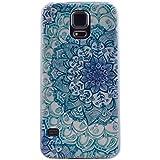 Cozy Hut Coque pour Samsung Galaxy S5 TPU Case Accesoire Housse Silione Souple Etui Gel Léger Flexible Couverture Protection Arrière Anti Choques Anti Poussières Motif Dessin Dessins peints Transparent pour Samsung Galaxy S5 - Pétales bleus