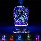 Aroma Diffusor, GLISTENY 100ML Öl Ultraschall Luftbefeuchter, 3D Glas vller Stern Nachtlampe ätherisches, ruhiger und trabarer Humidifier, 16 Farben Nachtlicht für Baby Badezimmer Wohnzimmer Schlafzimmer Büro