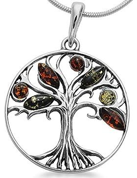 Bernsteinschmuck Lebensbaum Weltbaum Anhänger 925er Silber Bernstein Schmuck Amulett Medaillon #1632