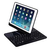 PowerLead Neues iPad 9.7 Keyboard Case, 7-farbige hintergrundOFCleuchtete Tastatur-Hülle 360 ° Drehen Sie Smart Keyboard Case mit Auto Wake / Sleep für iPad Pro 9.7, 2017 Neues iPad 9.7, iPad Air, iPad Air 2