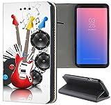 Samsung Galaxy A6 2018 Hülle Premium Smart Einseitig Flipcover Hülle Samsung A6 2018 Flip Case Handyhülle Galaxy A6 2018 Motiv (1606 Gitarre Schallplatte Lautsprecher Musik)