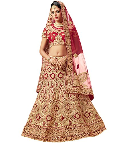 Indian Ethnicwear Bollywood Pakistani Wedding Red A-Line Coloured Lehenga Semi-stitched-PRF5434