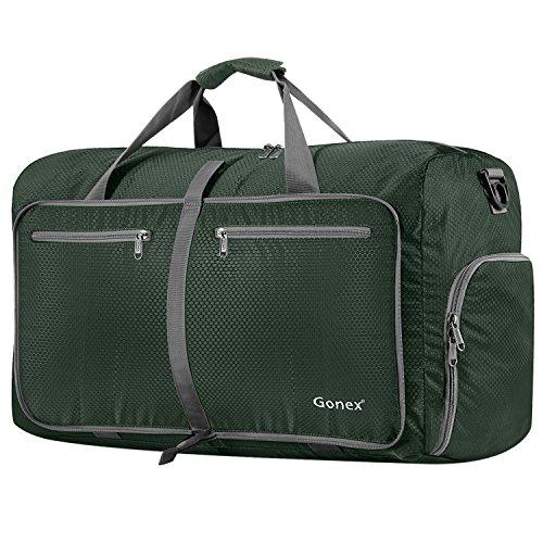 Gonex - Bolsa de equipaje plegable para deporte o viaje (multiusos, impermeable, 80 L), Verde Oscuro, L