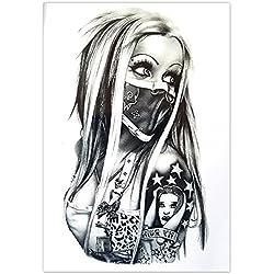 EROSPA® Tattoo-Bogen temporär - Frau Nase Mund verhüllt 20 x 15 cm