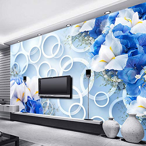 ld Tapete Landschaft Für Wände Tv Hintergrund Moderne Fantasie Mode Blau Blumen Ring Zyklus Foto Tapeten Schlafzimmer ()