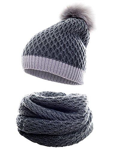 Winter Kombi Set aus Winter Schal und passender Strickmütze/Beanie mit Pompon/versch. Designs, Winter Set:4D-grau