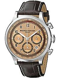 Baume y Mercier Capeland marrón sol satinado Dial Cronógrafo Reloj para hombre