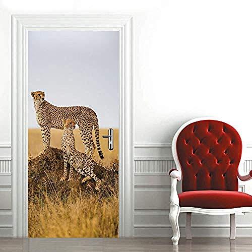 Tür-Aufkleber für Innentüren, Home Decoration Wall Art Wandtattoos, Wild Cheetah Multicolour, Vinyl, abnehmbare selbstklebende Aufkleber Türaufkleber-A1 (2 Regal Cheetah)
