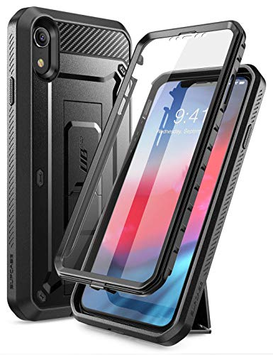 SUPCASE Full-Body Rugged Holster Case Cover for iPhone XR with Built-in Screen Protector (Black)