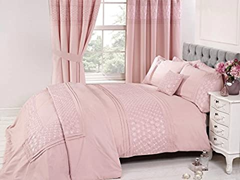 Bedding Heaven. Beautifully embroidered EVERDEAN Duvet Cover. Pink or Grey. Single, Double, King Size. (king size,