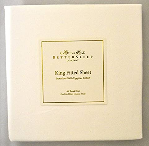 The Bettersleep Company Superior Boutique Hotel Quality 400 Thread Count 100% Egyptian Cotton Fitted Sheet King Size Bed. Luxurious Sateen Finish-White