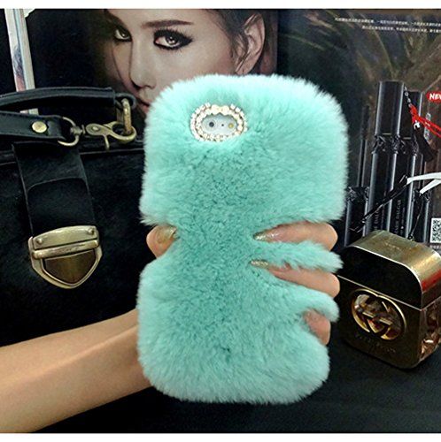 iPhone 6S Hülle, iPhone 6 Hülle, Vandot Handmade Schutzhülle iPhone 6s 6 Case Cover 3D Diamant Rhinestone Bling Kristall Shining Bogen Handgefertigt Handyhülle Transparent TPU Silikon Weich Soft Fell  Kaninchen Grün
