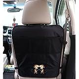 ZEEUPAI - Protector funda impermeable para asiento de coche trasero contra los pies sucios de niños Organizador bolsillo para coche (Negro - Mono)