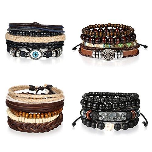 5 Stück Herren Armband Leder Armband Armbänder Schmuck Set schwarz , OIDEA Vintage Breite Geflochten Lederarmband Surferarmband Armreifen , verstellbar - 2