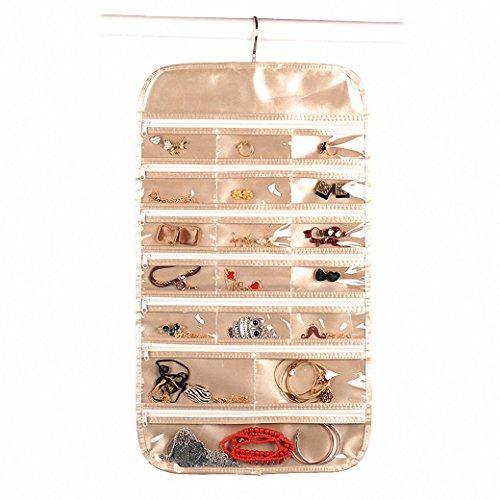 idechome Gold Reißverschluss zum Aufhängen 750Organizer, Dual-seitige Taschen Haken Vlies Aufbewahrungstasche (Hanging Jewelry Organizer-reißverschluss)