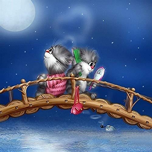 CHUDU Puzzle 1000 Teile Für Erwachsene Holzkatzen Datum Auf Der Brücke Mond Nachtlandschaft (Sie Puzzle Ein Wählen Datum)