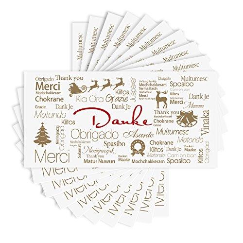 10 x Dankeskarte DINlang mit Weihnachtsmotiv inklusive Umschläge - (Klappkarte, 210 x 105mm, seidenmatt auf festem Karton)
