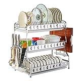 Shelf QIN HTZ Multifunktionale Küchen Siebhalter Band 3 Schicht Wurde Mit Geschirrkorb Halter Getrocknet Und Die Tropfschale 304 Edelstahl Abtropfbrett A+